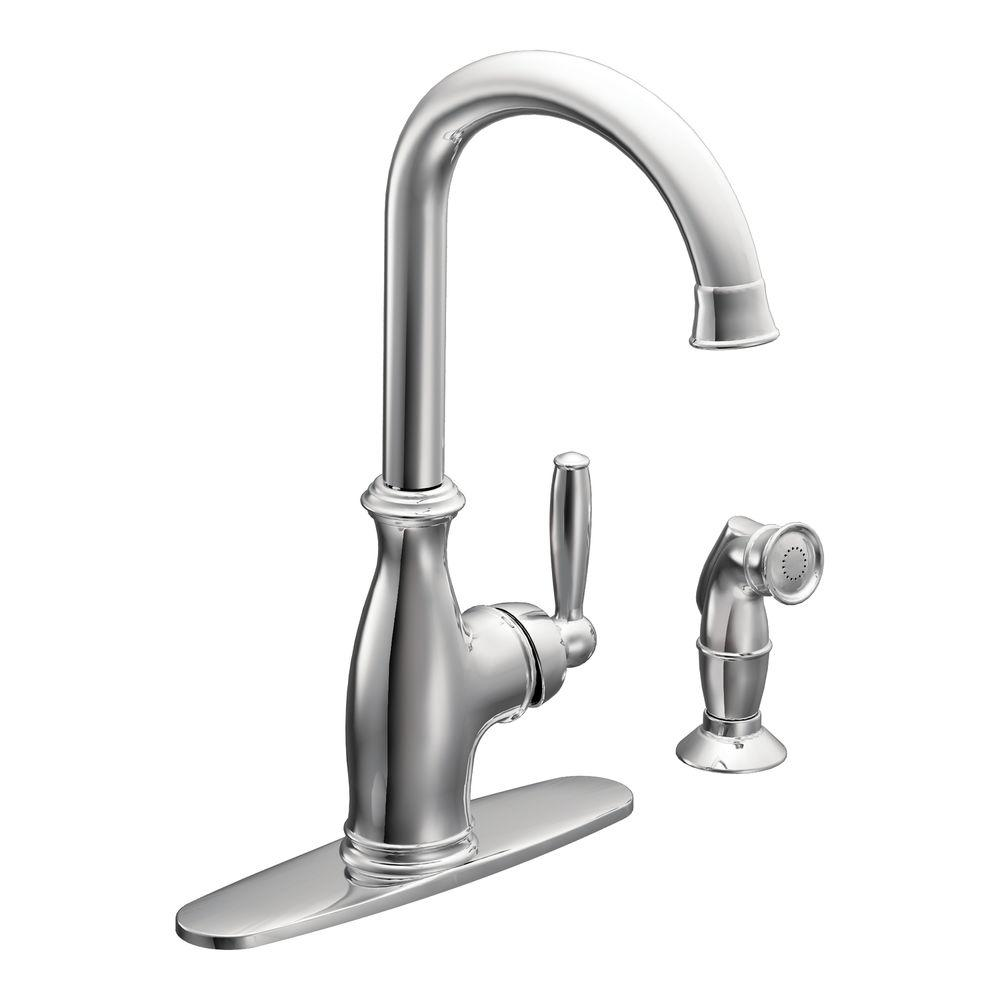 MOEN Brantford High Arc Single Handle Standard Kitchen Faucet With Side  Sprayer In Chrome