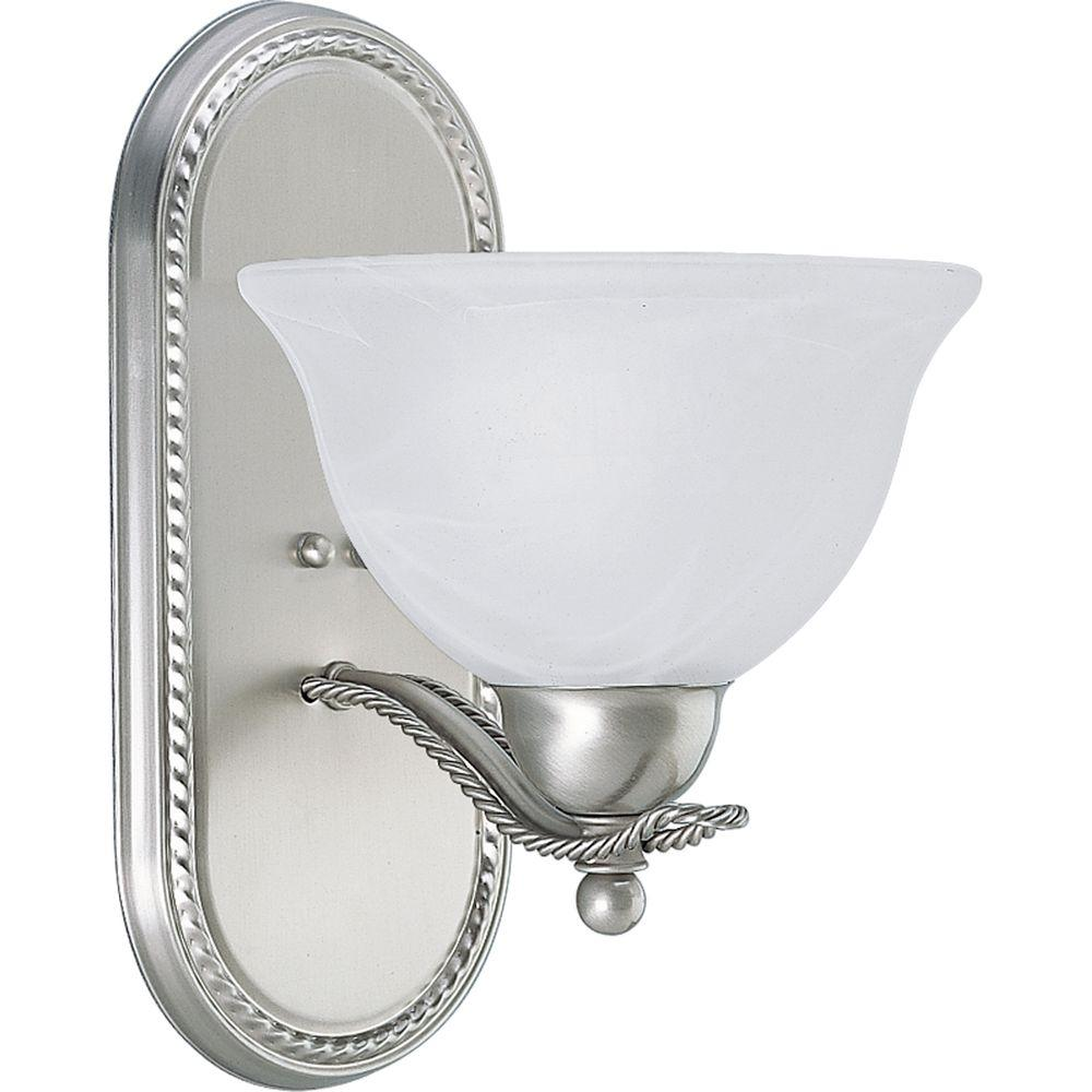 Progress Lighting Avalon 1 Light Brushed Nickel Bath Sconce With Alabaster Gl Shade