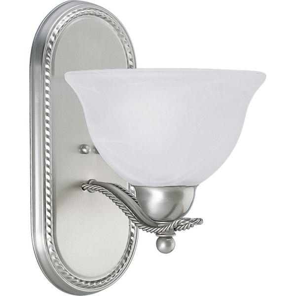 Avalon 1-Light Brushed Nickel Bath Sconce with Alabaster Glass Shade