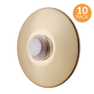 2-1/2 in. Round Unlighted Wired Doorbell Push Button, Polished Brass (10-Pack)
