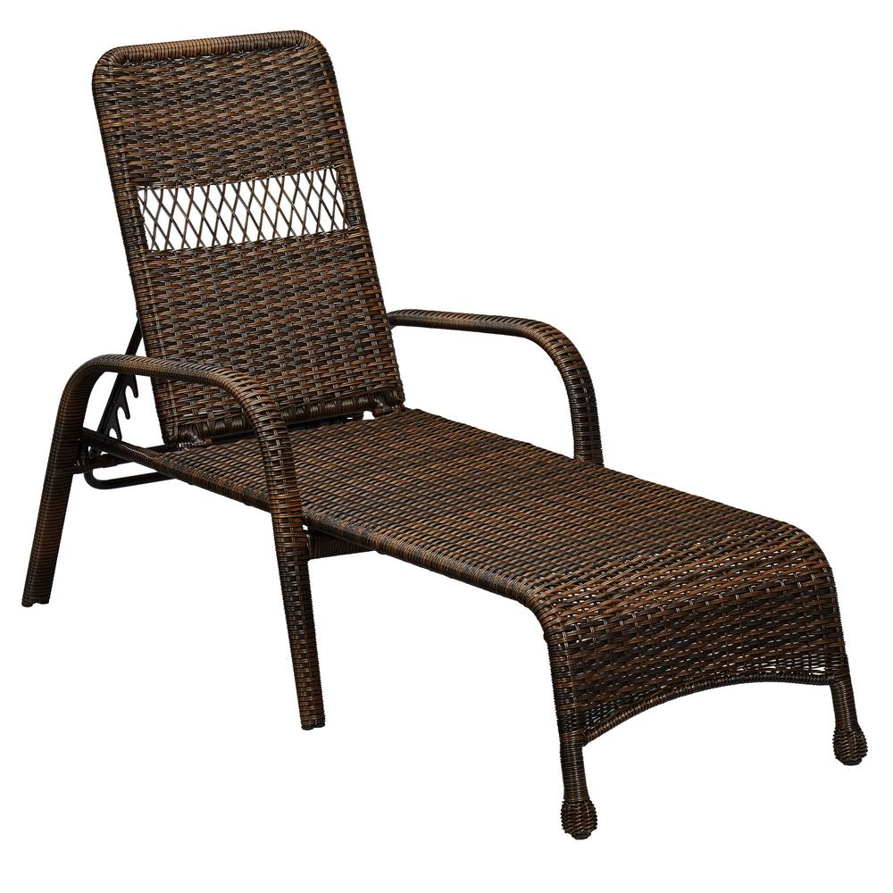 Hampton Bay Mix And Match Brown Wicker Outdoor Lounge Chaise