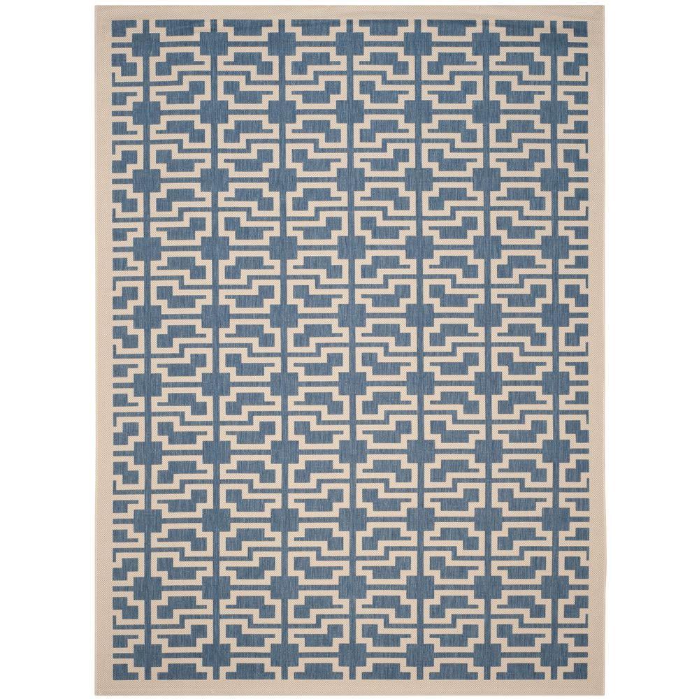 Courtyard Blue/Beige 8 ft. x 11 ft. Indoor/Outdoor Area Rug