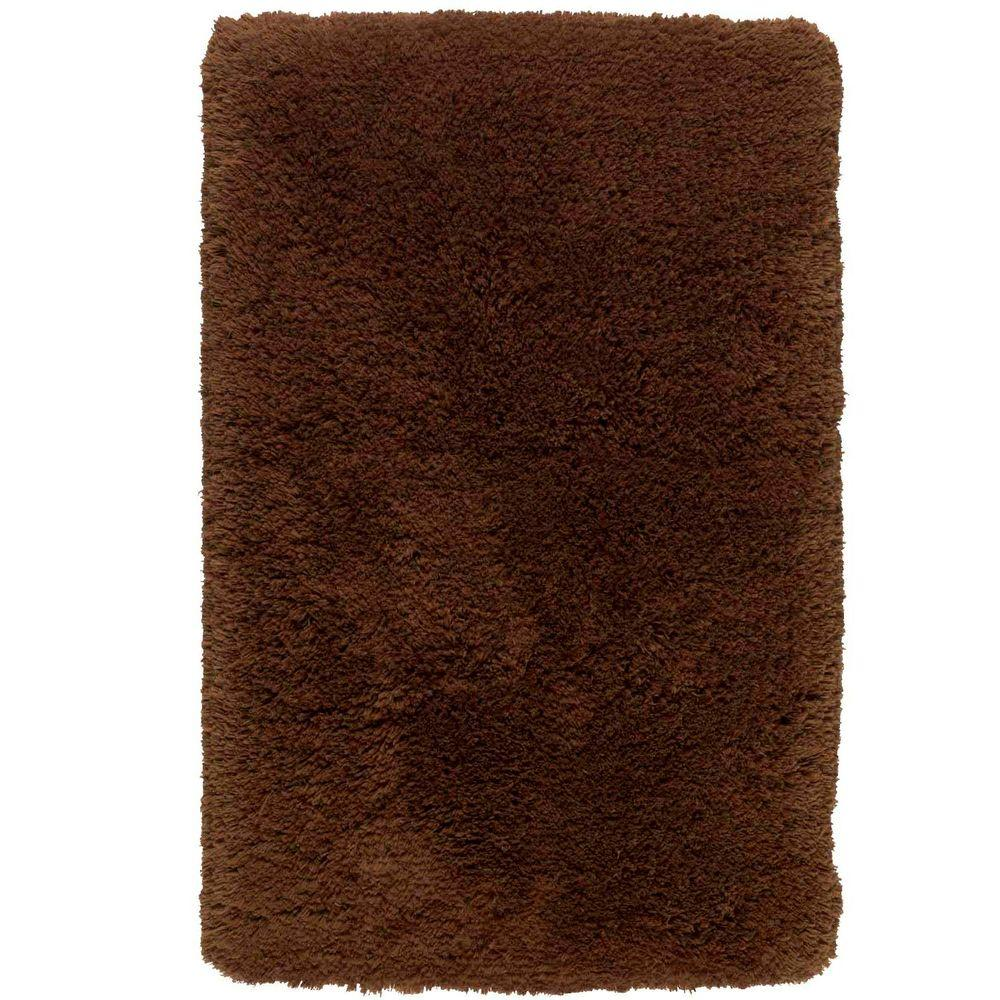 Shaw Living Sassy Shag Coffee 1 ft. 5 in. x 2 ft. Bath Rug-DISCONTINUED