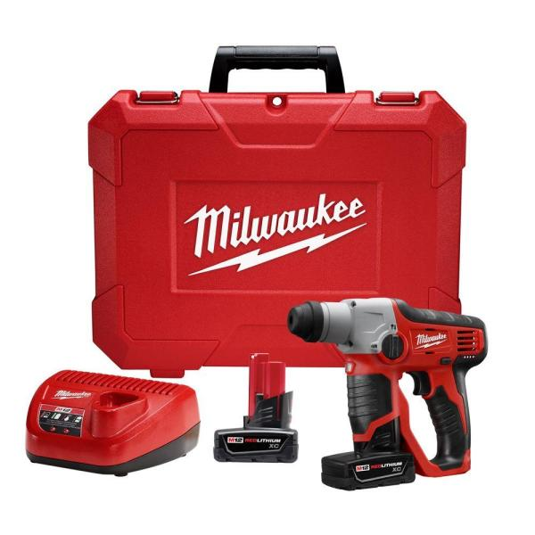 M12 12-Volt Lithium-Ion Cordless 1/2 in. SDS-Plus Rotary Hammer with (2) 3.0Ah Batteries, Charger & Case