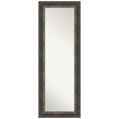 Large Rectangle Distressed Black Brown/Tan Silver Metallic Hooks Casual Mirror (53.25 in. H x 19.25 in. W)