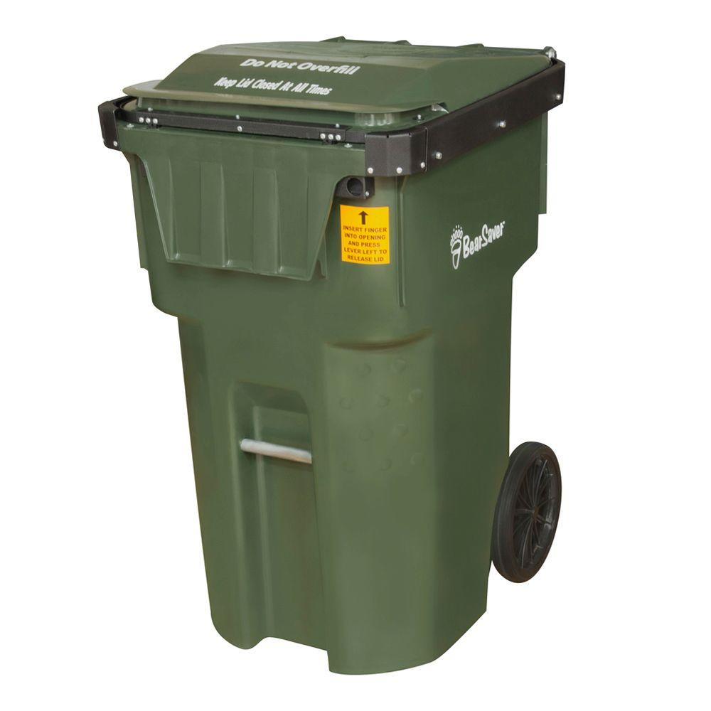 Green Wheeled Black Bear Trash Can