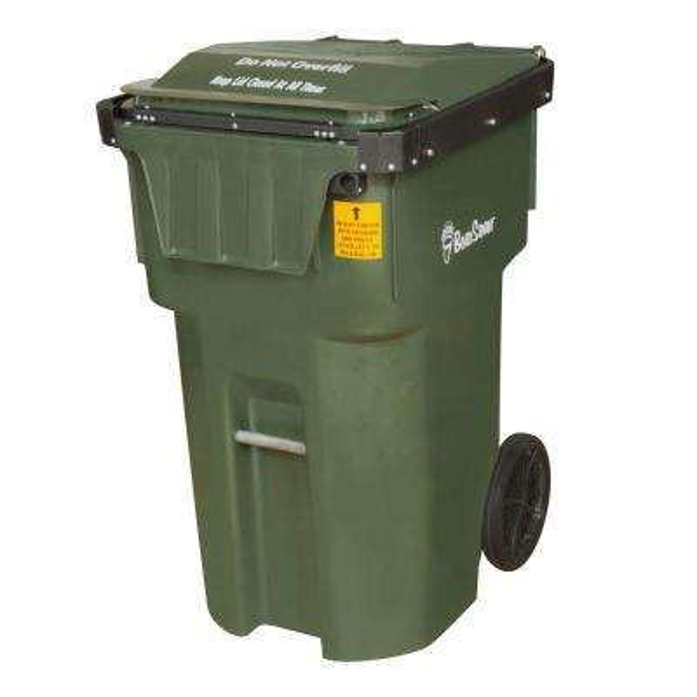 BearSaver 95 Gal. Green Wheeled Black Bear Trash Can
