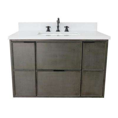 Scandi II 37 in. W x 22 in. D Wall Mount Bath Vanity in Gray with Quartz Vanity Top in White with White Rectangle Basin