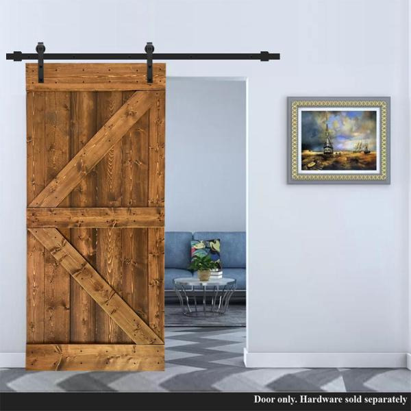 Calhome K Series 30 In X 84 In Pre Assembled Solid Pine Walnut Stained Wood Interior Sliding Barn Door Slab Door Asm K30bt The Home Depot