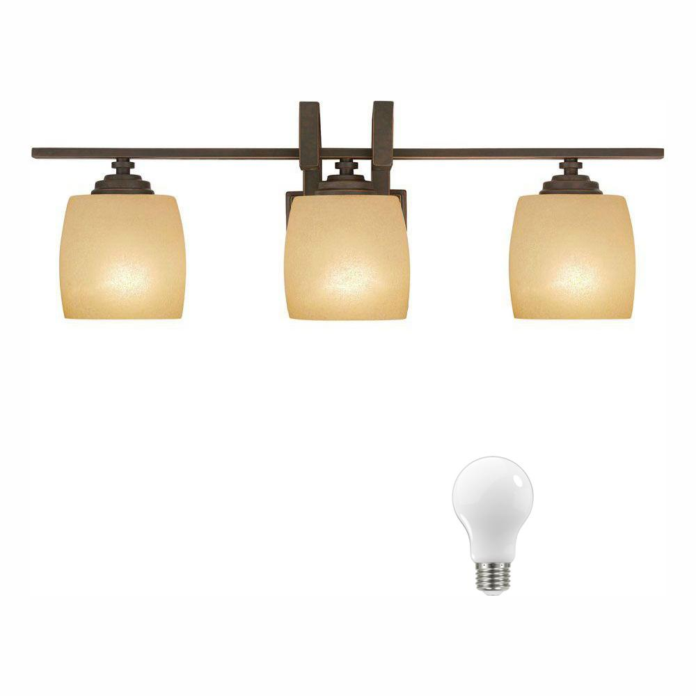 Hampton Bay 3-Light Bronze Vanity Light with Scavo Glass Shade, Dimmable LED Soft White Bulbs Included