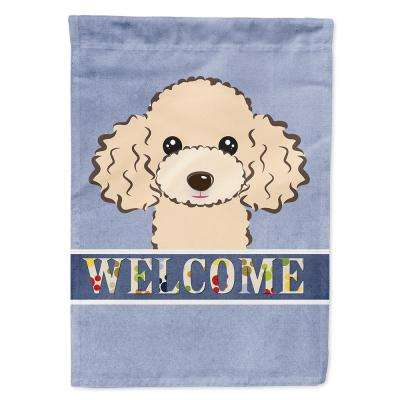 11 in. x 15-1/2 in. Polyester Buff Poodle Welcome 2-Sided 2-Ply Garden Flag