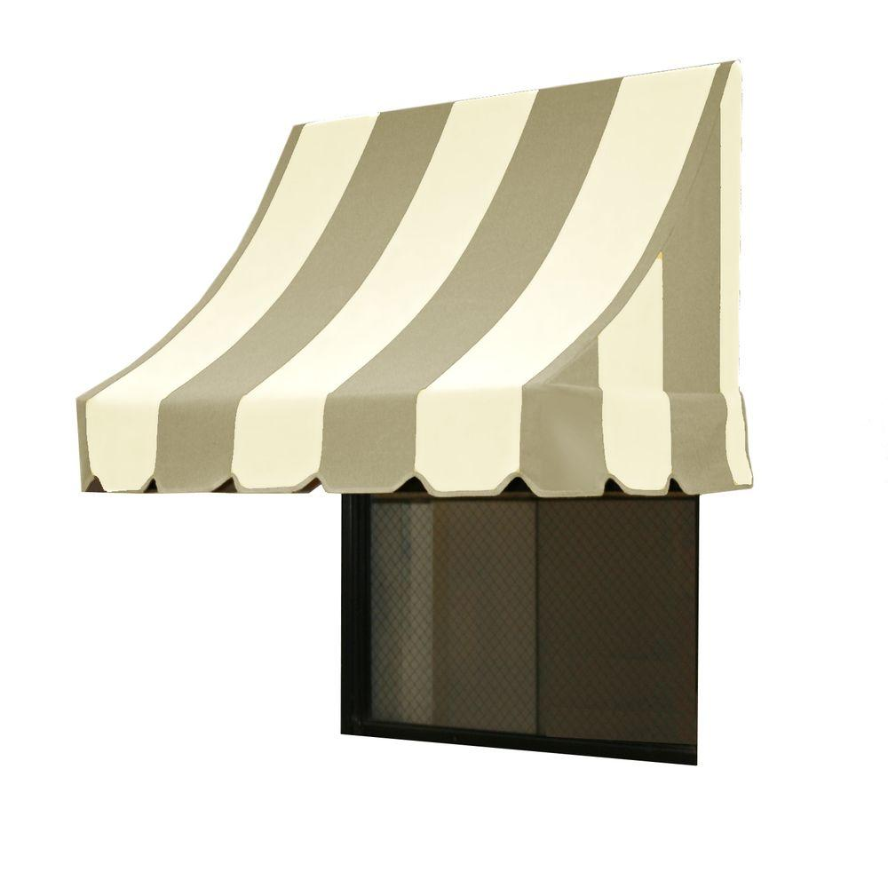 AWNTECH 50 ft. Nantucket Window/Entry Awning (44 in. H x 36 in. D) in Gray/White Stripe