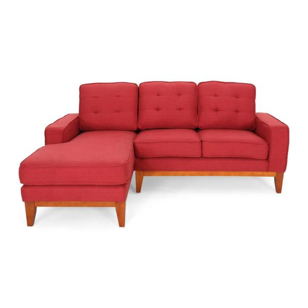 Noble House Welles Mid-Century Modern Tufted Red Fabric Sectional ...