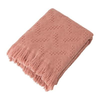 Coral Pink Grid Cotton Woven Throw