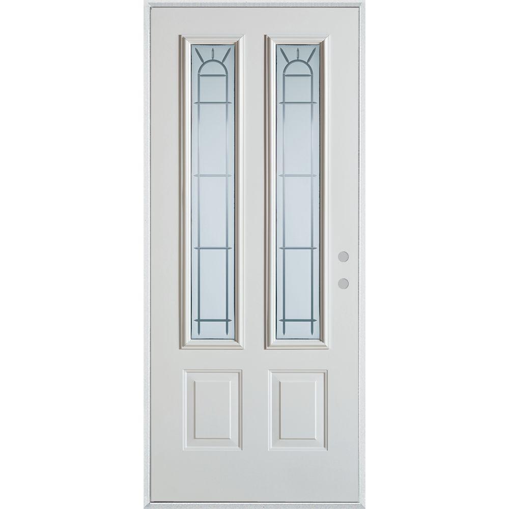32 in. x 80 in. V-Groove 2 Lite 2-Panel Painted White Left-Hand Inswing Steel Prehung Front Door