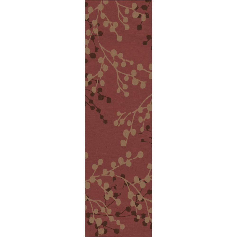 Blossoms Rust 2 ft. 6 in. x 8 ft. Rug Runner