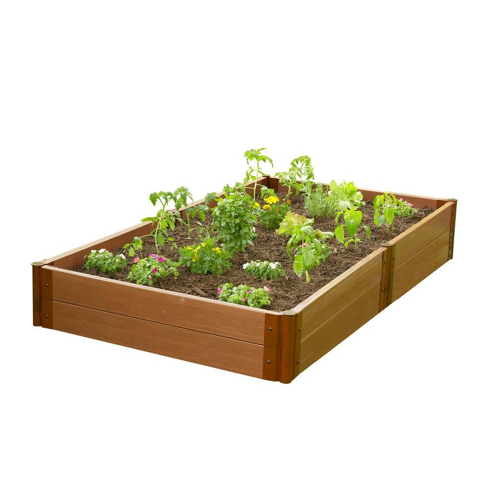 Frame It All Urban 4 ft. W x 8 ft. D x 12 in. H Raised Garden in Composite Wood Grain Timbers-DISCONTINUED