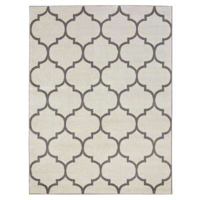 Royal Collection Cream Contemporary Moroccan Trellis Design 7 ft. 10 in. x 9 ft. 10 in. Area Rug