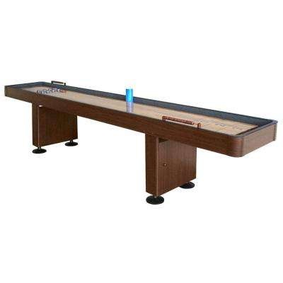 Challenger 9 ft. Shuffleboard Table with Walnut Finish, Hardwood Playfield and Storage Cabinets
