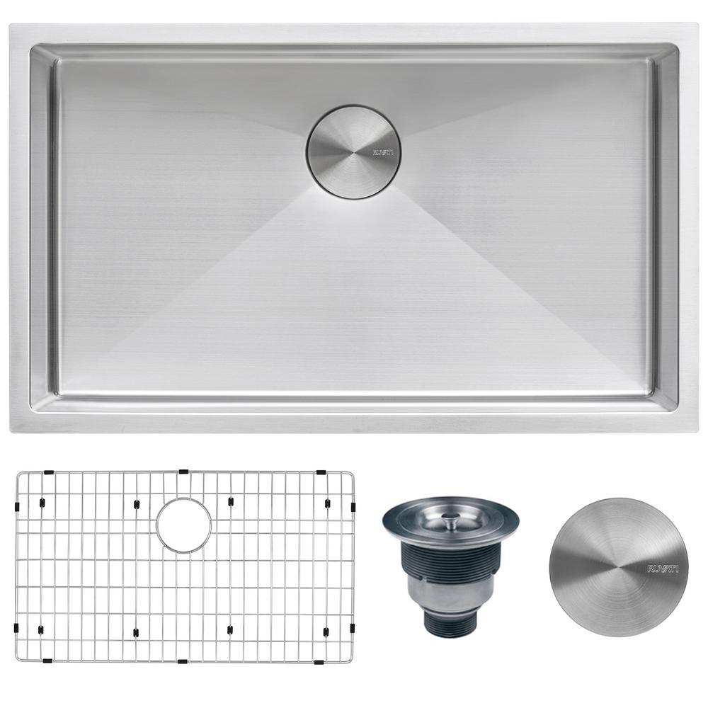 Undermount Stainless Steel 32 in. Single Bowl Kitchen Sink 16-Gauge