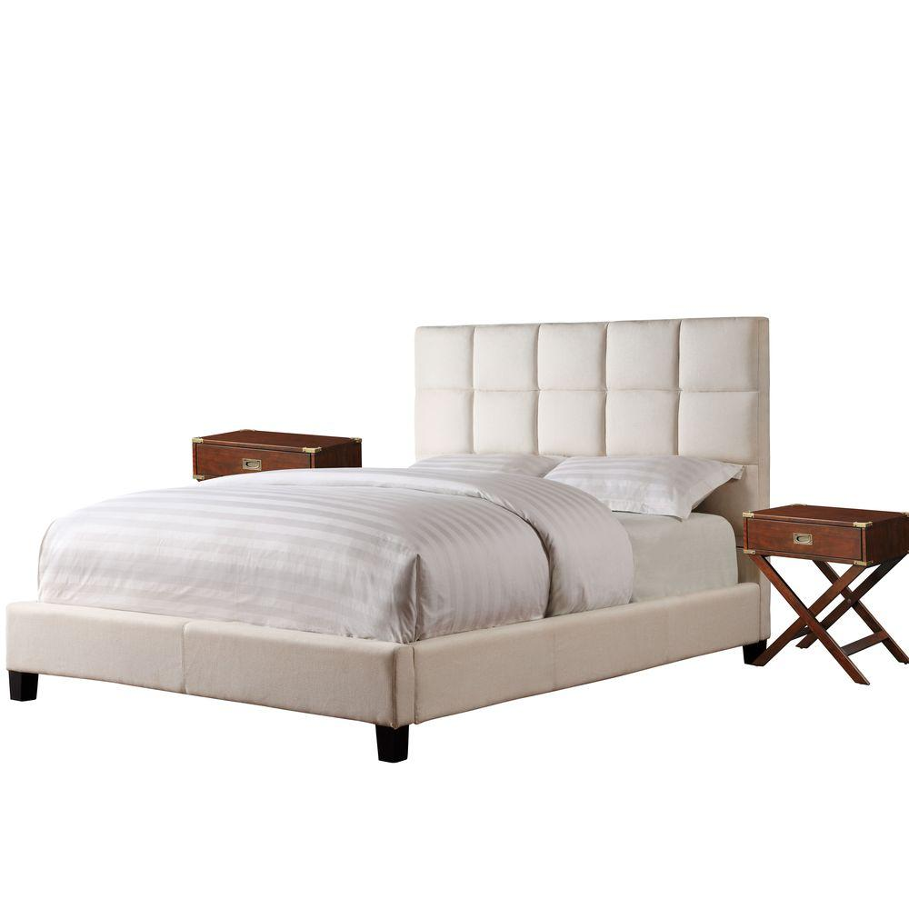 HomeSullivan Calais Beige Upholstered Queen-Size Bed and Espresso Modern 2-Nightstand Set-DISCONTINUED