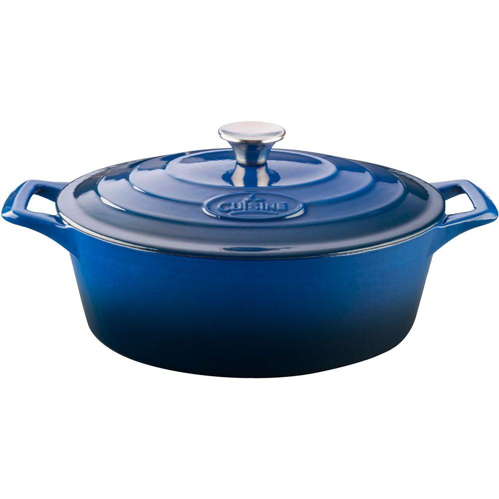 6.75 Qt. Cast Iron Oval Casserole with Blue Enamel