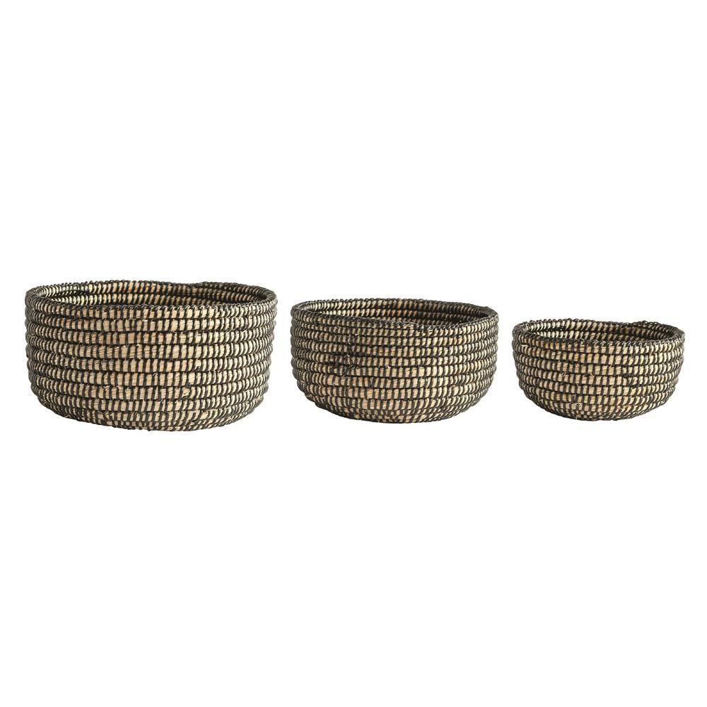 Grass Handwoven Decorative Baskets (Set of 3)