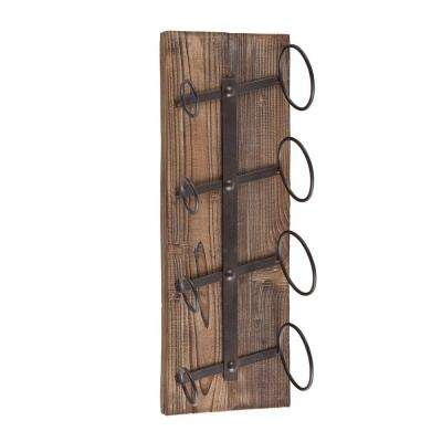 Poplar 4-Bottle Wall Mount Wine Cage in Weathered Oak