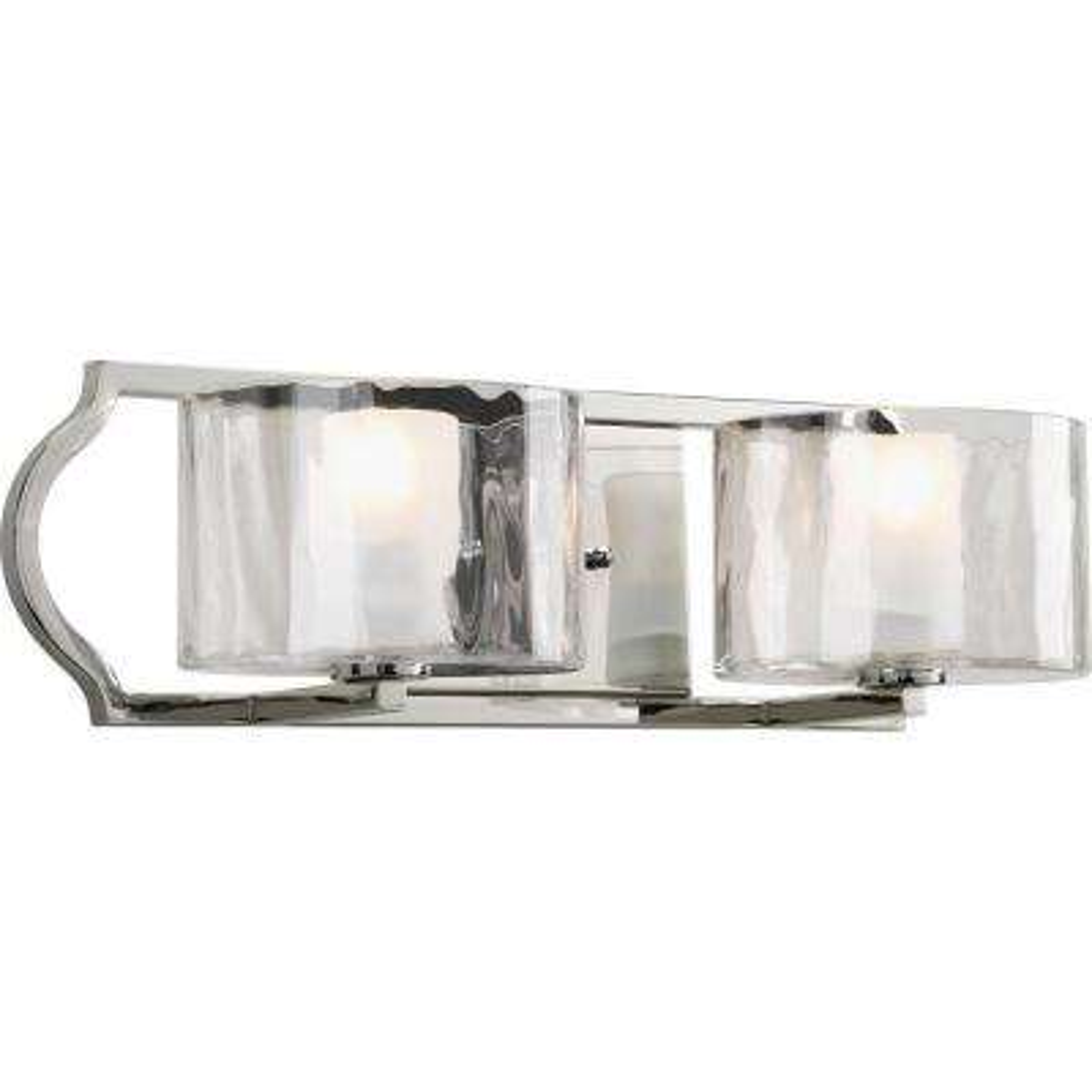 Caress Collection 2-Light Polished Nickel Vanity Light