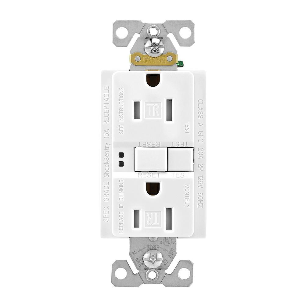 Eaton GFCI Self-Test 15A -125V Tamper Resistant Duplex Receptacle, White (3