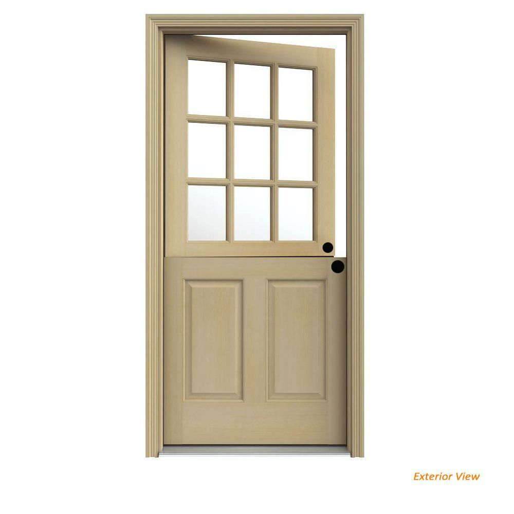 JELD-WEN 36 in. x 80 in. 9 Lite Unfinished Wood Prehung Left-Hand Inswing Dutch Front Door with AuraLast Jamb and Brickmold