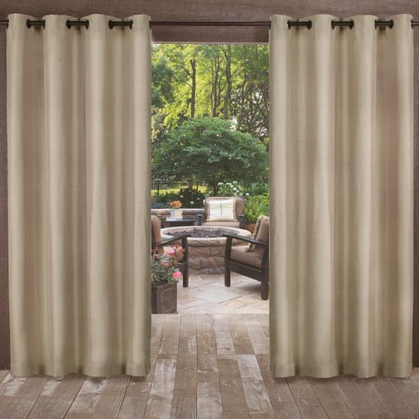 Biscayne 54 in. W x 96 in. L Indoor Outdoor Grommet Top Curtain Panel in Sand (2 Panels)