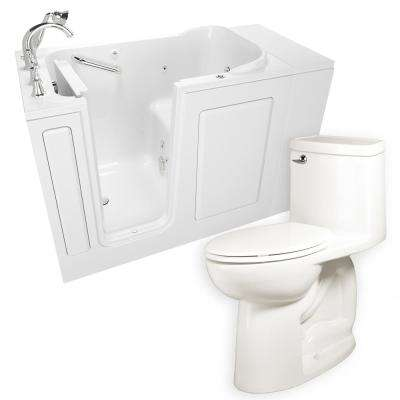 Whirlpool Left-Hand 28 in. x 48 in. Walk-In Bath, Roman Tub Filler, and Cadet 3 FloWise Tall Height Toilet in White