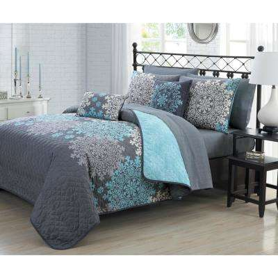 Amber 9-Piece Aqua Queen Quilt Set