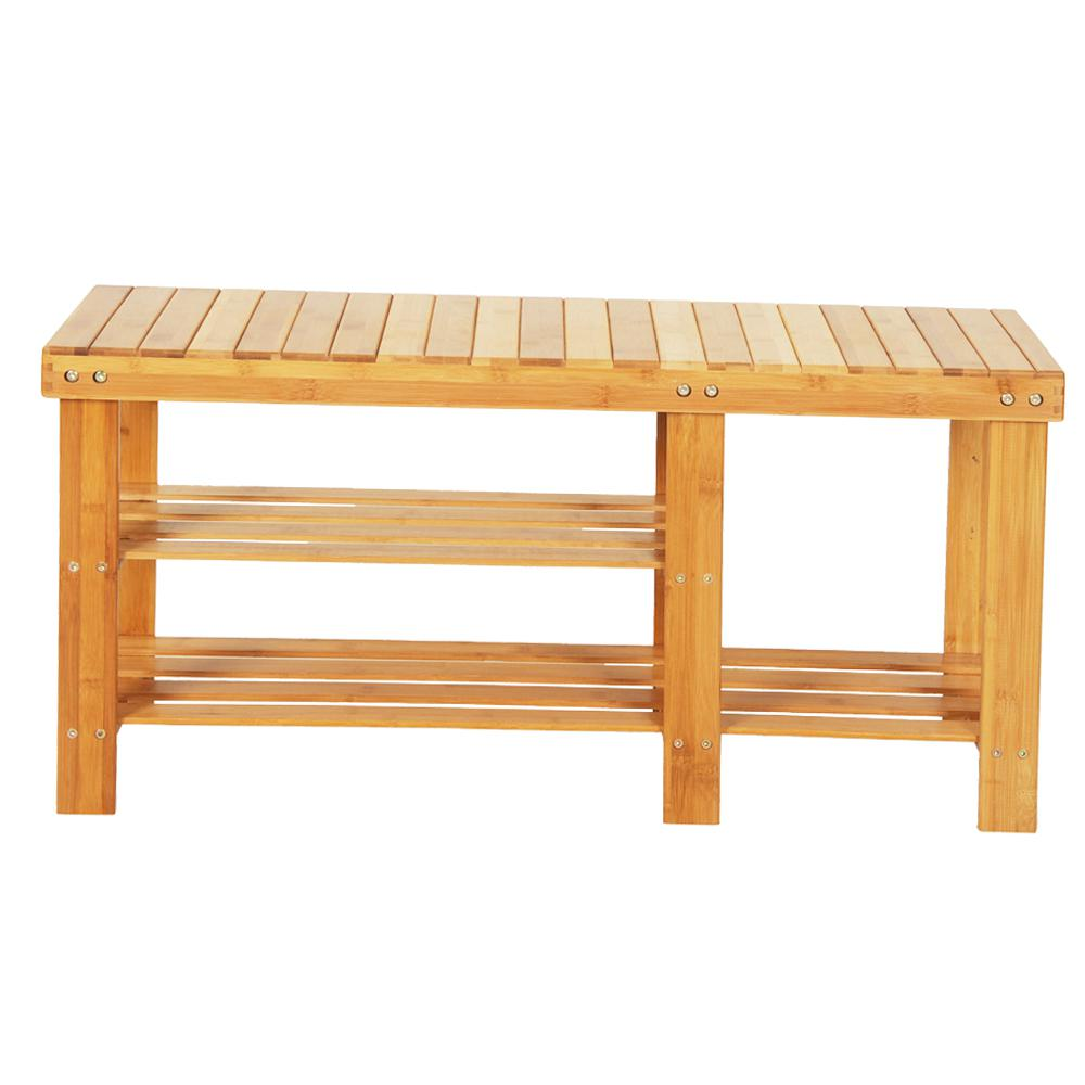 15-pair 90cm Strip Pattern Tiers Bamboo Stool Shoe Rack with Boots Compartment Wood Color Shoe Organizer