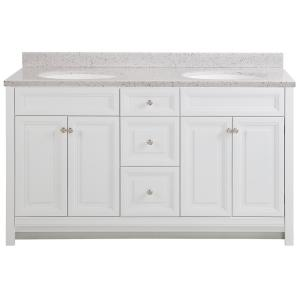 Brinkhill 61 in. W x 22 in. D Bathroom Vanity in White with Solid Surface Vanity Top in Silver Ash with White Sink