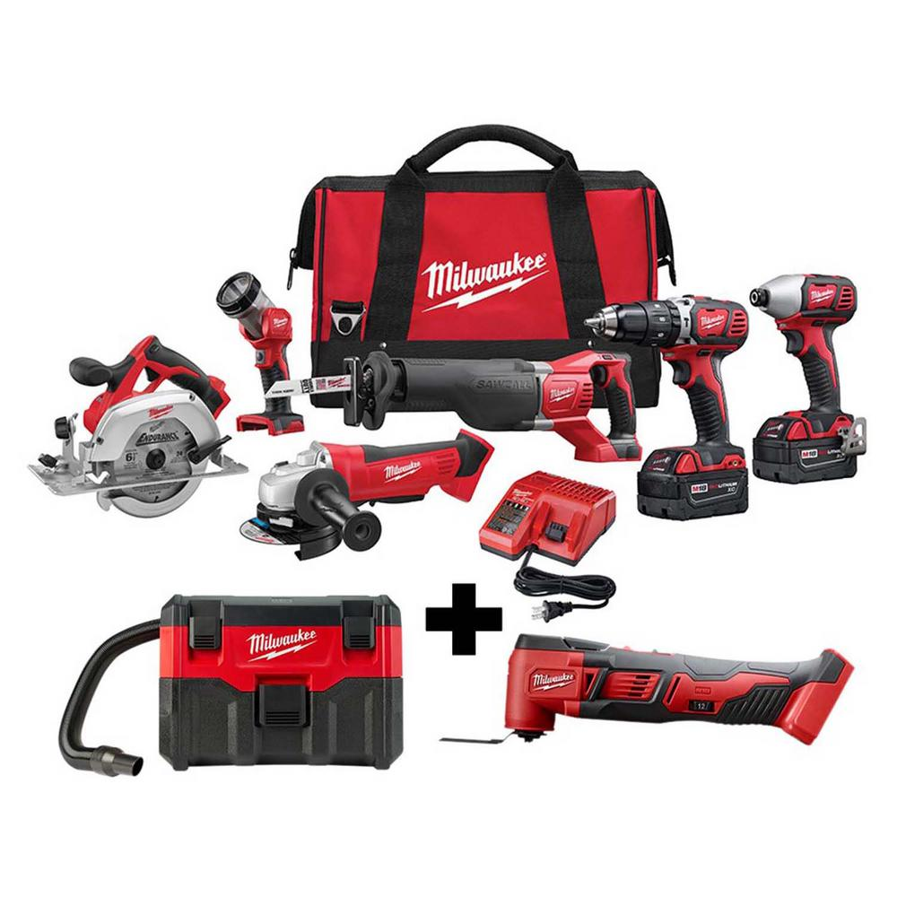 Milwaukee M18 18-Volt Lithium-Ion Cordless Combo Tool Kit (6-Tool) with Free M18 Wet/Dry Vacuum and Multi-Tool was $917.0 now $599.0 (35.0% off)