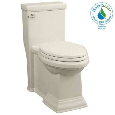 Town Square LXP Tall Height 1-piece High-Efficiency 1.28 GPF Single Flush Elongated Toilet in Linen, Seat Included