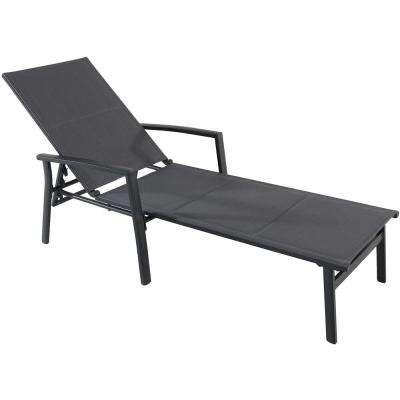 Halsted Aluminum Outdoor Chaise Lounge with Padded Sling Seat in Gray