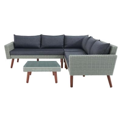 Albany Brown 2-Piece Wicker Patio Conversation Set with Dark Gray Cushions