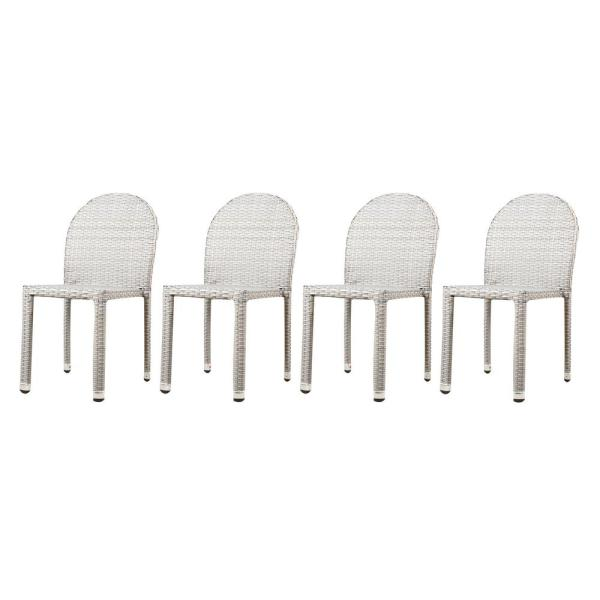 Aurora Chateau Grey Stacking Wood Outdoor Dining Chairs (4-Pack)