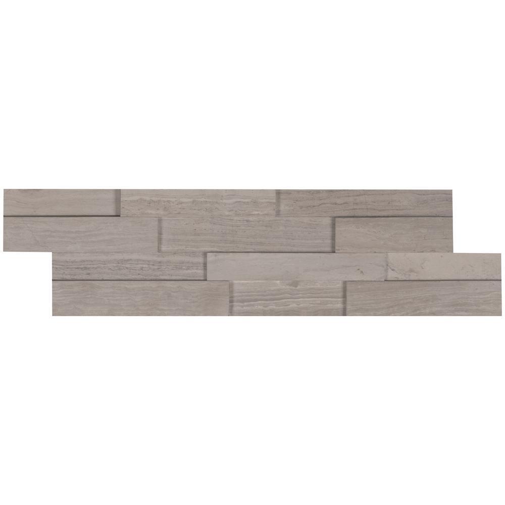 MSI Gray Oak 3D Mini Ledger Panel 4.5 in. x 16 in. Honed Marble Wall Tile (5 sq. ft./case)