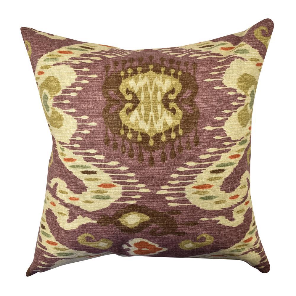 Warm Purple Ikat Inspired Throw Pillow