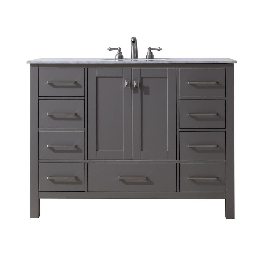 stufurhome Malibu 48 in. Vanity in Gray with Marble Vanity Top in ... for grey bathroom vanity home depot  45gtk