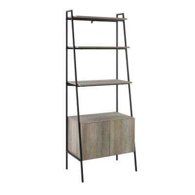 72 in. Grey Wash Metal and Wood Ladder Storage