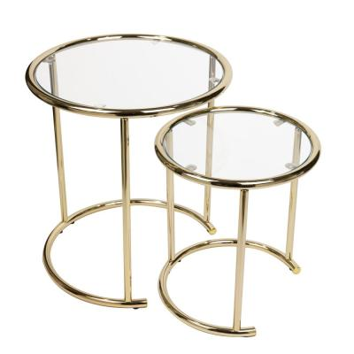 Gold Nested Round End Tables with Clear Glass (Set of 2)