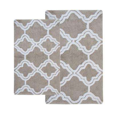 Double Quatrefoil Lunar Grey 2 ft. x 3 ft. 4 in. 2-Piece Bath Rug Set