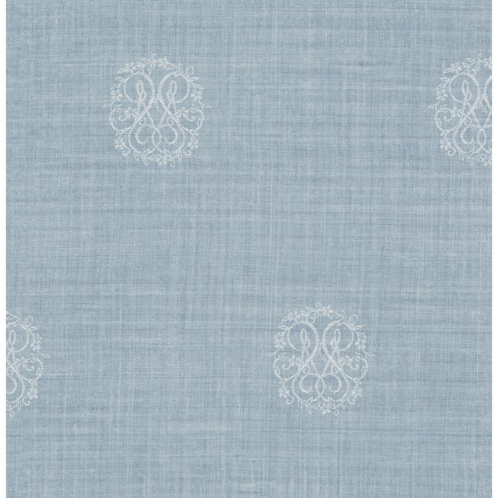 Nautical Powder Blue Monogram Wallpaper