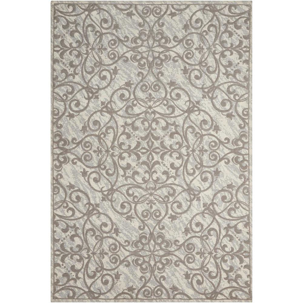 Damask Ivory/Grey 8 ft. x 10 ft. Area Rug