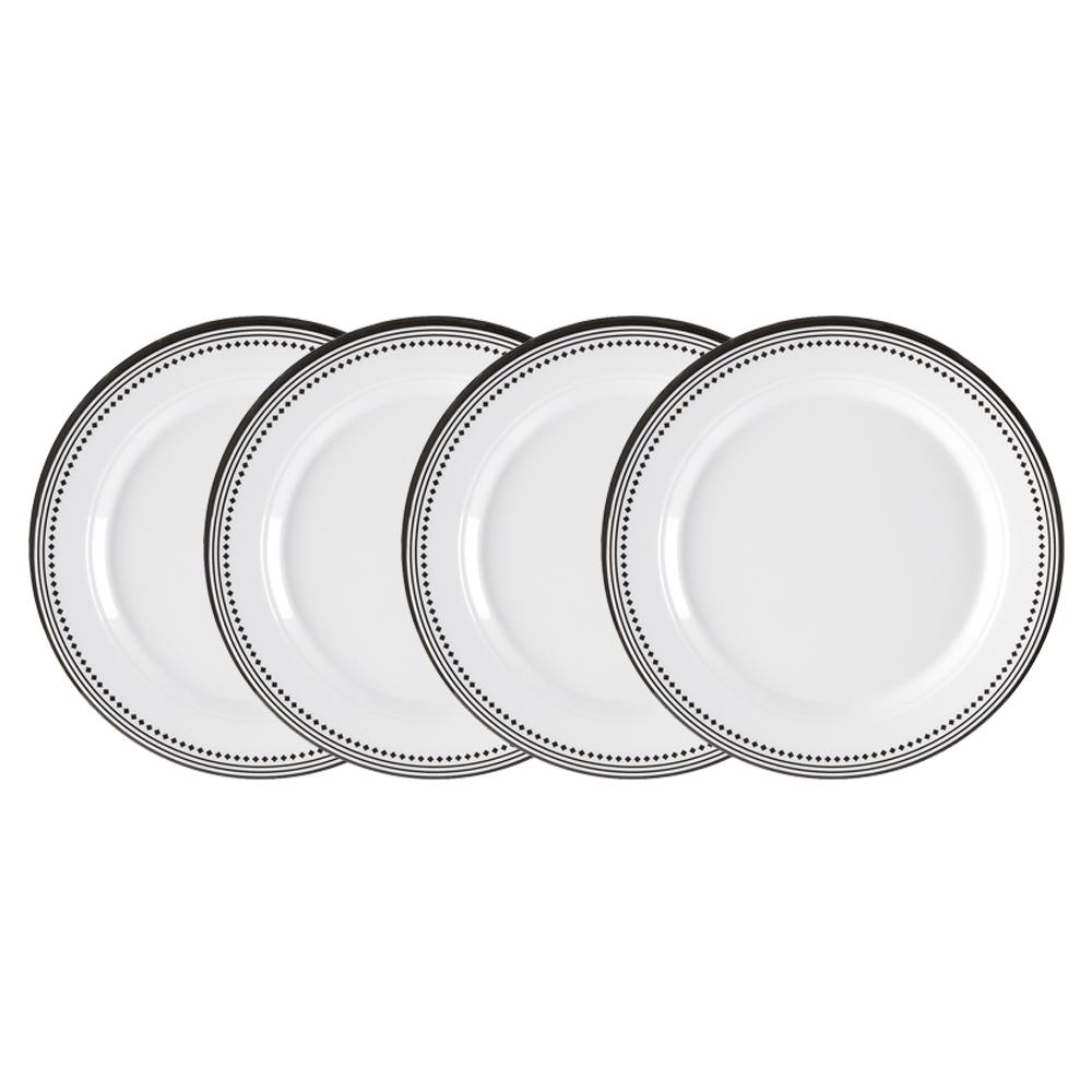 Classica 4-Piece White with Black Border Border 8 in. Melamine Salad